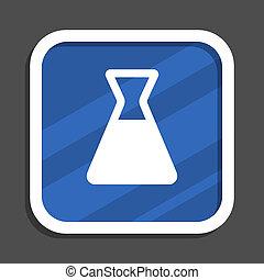 Laboratory blue flat design square web icon