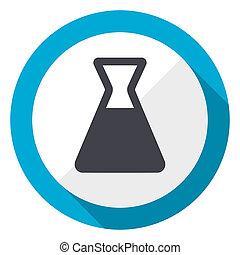 Laboratory blue flat design web icon