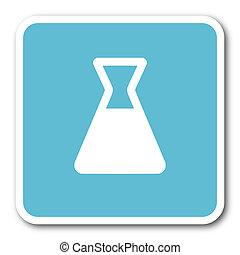 laboratory blue square internet flat design icon