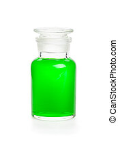 Laboratory bottle filled with green liquid