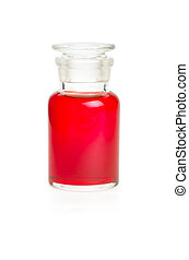 Laboratory bottle filled with red liquid