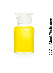 Laboratory bottle filled with yellow liquid