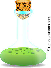 Laboratory bottle with green liquid