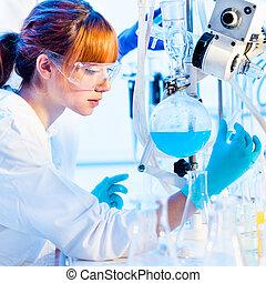 laboratory., chimiste, jeune