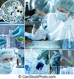 Various laboratory related images in a collage