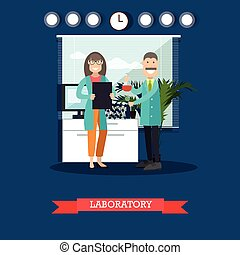 Laboratory concept vector illustration in flat style