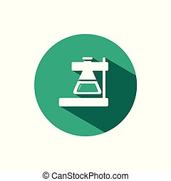 Laboratory conical flask icon with shadow on a green circle. Vector pharmacy illustration