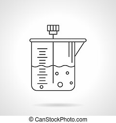 Laboratory container flat line vector icon