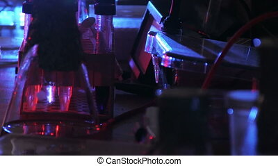 Laboratory - Dark laboratory in blue and red light