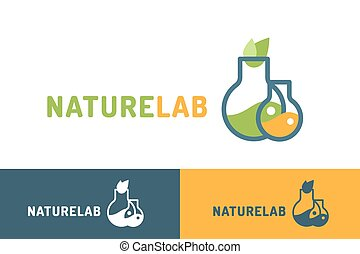 Laboratory ecology vector logo. Lab Eco icon logo isolated....
