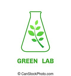 Laboratory ecology vector logo - Laboratory glassware and...