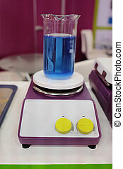 Blue chemical substance in the beaker