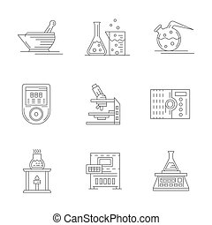 Laboratory equipment flat line vector icons set