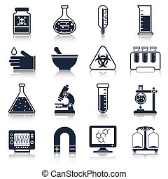 Science and research laboratory black icons set with poison tube thermometer glass isolated vector illustration