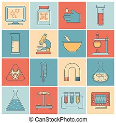 Laboratory equipment icons flat line - Science and research...