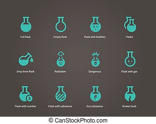 Laboratory equipment icons set.