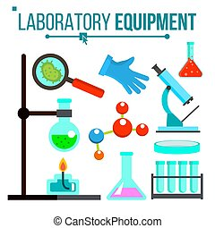 Laboratory Equipment Vector. Chemical Laboratory Experiment. Glass Flask, Beaker, Spirit Lamp, Microscope. Glassware. Research Lab Science Icons. Isolated Flat Cartoon Illustration