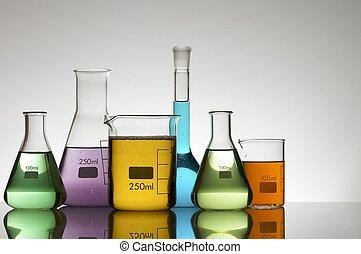 laboratory equipment with liquid color