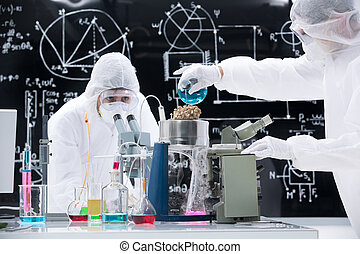 laboratory experimental testing - general view of two people...