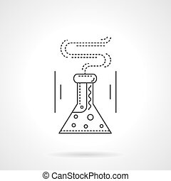 Laboratory flask flat line vector icon
