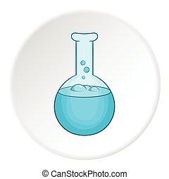 Laboratory flask icon, cartoon style