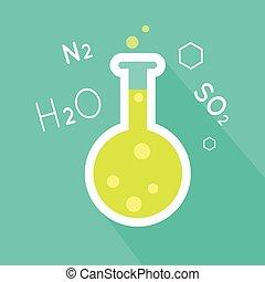 Laboratory Flask Illustration in Flat Style Design