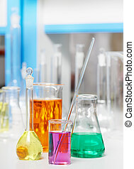 laboratory flask in chemistry pharmacy research - Pharmacy...