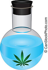 Laboratory flask marijuana