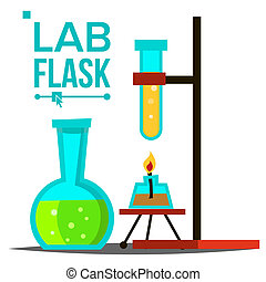 Laboratory Flask Vector. Chemical Laboratory Equipment. Glass Flask With Spirit Lamp. Science Symbol. Glassware. Research Lab Icons. Isolated Illustration