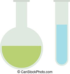 Laboratory flask with liquid vector icon.