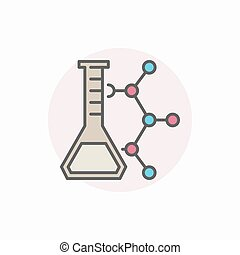 Laboratory flask with molecule icon