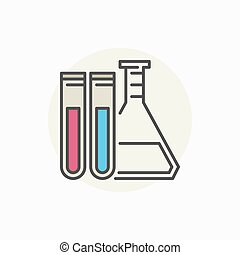Laboratory flask with test tubes icon
