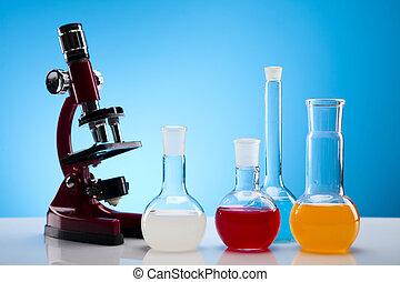 Laboratory flasks containing liquid - Laboratory glassware...