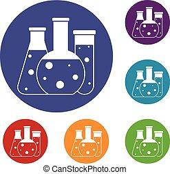 Laboratory flasks icons set