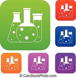 Laboratory flasks set collection