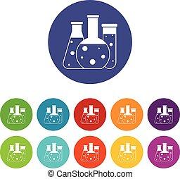 Laboratory flasks set icons