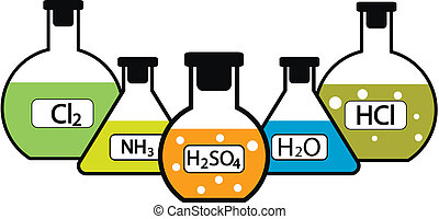 Laboratory flasks with chemicals on white background. Vector...