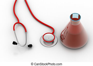 laboratory flasks with stethoscope