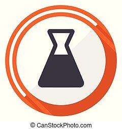 Laboratory flat design vector web icon. Round orange internet button isolated on white background.