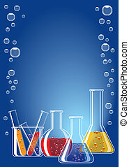 Different coloured chemical substances in laboratory glasses on blue background