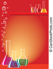 Laboratory glass - Different chemical substances in...