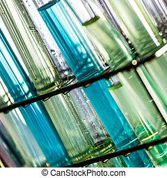 Laboratory glass test tubes.
