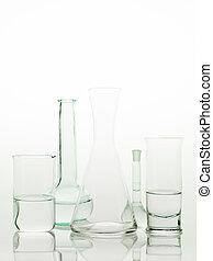 laboratory glass utensils on white background