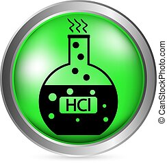 Laboratory glass with hydrochloric acid button on white...