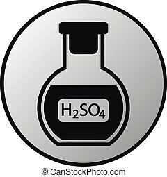 Laboratory glass with sulfuric asid button on white background. Vector illustration.