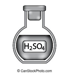 Laboratory glass with sulfuric asid sign icon.