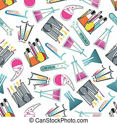 Laboratory glasses, tubes and flasks pattern