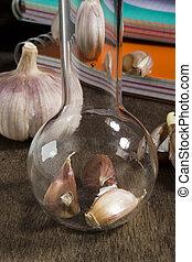 Laboratory Glassware and garlic
