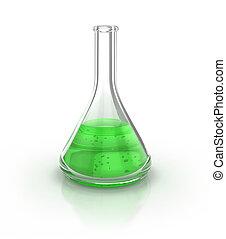 Laboratory glassware filed with green liquid over the white...