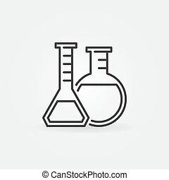 Laboratory glassware line icon